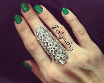 """double ring,full finger ring , statement ring, sterling silver ring""""Shahrezada"""""""