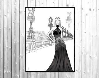 Fashion illustration, Paris print, fashion wall art, fashion designer art, fashion print, fashion poster
