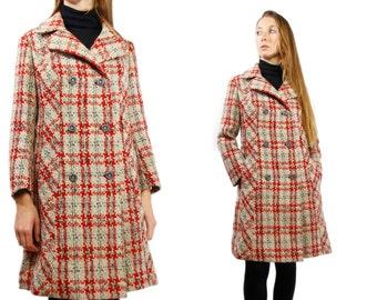 70s Coat Women / Long Wool Coat / Checked Coat Vintage / Vintage Long Coat / Checked Coat / 70s Long Coat / 70s Women Clothing