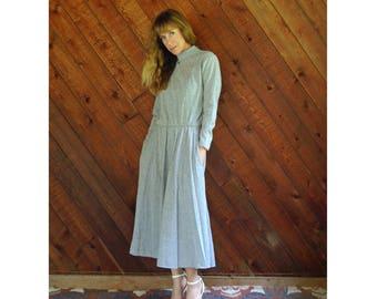 Marled Grey Hi Neck l/s Midi Dress - Vintage 80s - S/M