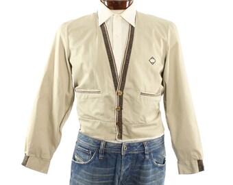 Vintage 50s Cardigan Jacket Blazer BUCK SKEIN Atomic Jacket Rockabilly Fashion Mens Fall 1950s Tan Brown Jacket Medium M