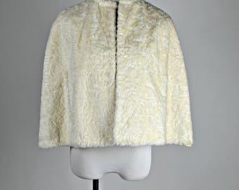 White Cape, Bridal Cape, Faux Fur, White Capelet, 1950s Vintage Cape, Wedding Capes, Prom Cape, Rockabilly Cape, Winter Cape, Brides Cape