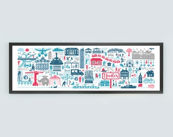 illustrated poster Nantes panoramic 100 X 35 cm