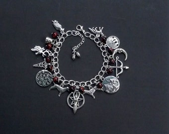 Goddess Diana Charm Bracelet with Red Tiger Eye. Pagan, Wiccan, Wicca, Witch, Huntress