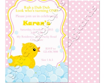 BA006 Rubber Ducky Birthday Party Invitation