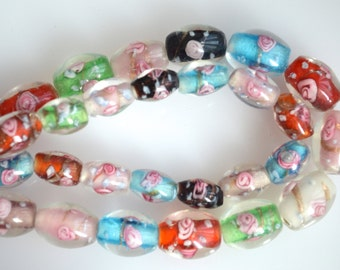 2 Str Muti Color Flower Lampwork Glass Beads Barrel Shape Size 14x11mm and 11x8mm Full Strands