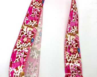Cow spots lanyard key Cowgirl, horse, Country, pink, boots, cowboy, iron horse, cowboy hat, Ribbon satin on bottom