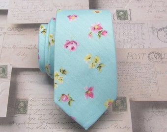 Cotton Mens Tie. Cotton Light Blue Pink Yellow Floral Skinny Tie