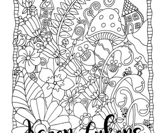 "Happyville ""Voted Best Place To Live"", 1 Adult Coloring Book Page, Printable Instant Download"