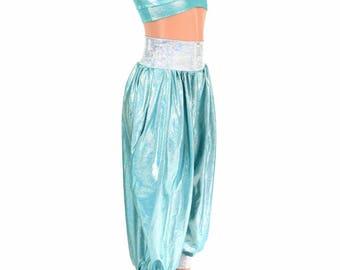Genie Princess Costume Seafoam Holo Starlette Bralette w/Frostbite Straps & Seafoam Holo Jasmine Pants w/Frostbite Band and Cuffs - 154645