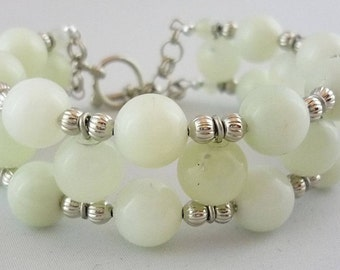 Sea Green 'Jade' Cuff Style Bracelet -- Sea Foam Circles