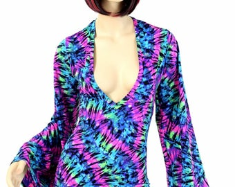 Neon UV Glow Tie Dye Bell Sleeve Romper with Plunging V Neckline Rave Festival Onsie 154626