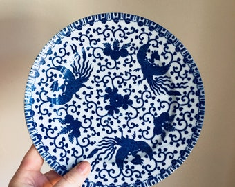 Vintage 70s Japanese Blue and White Bird Motif Plate Dish