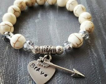 Brave Beaded Gemstone Stretch Bracelet