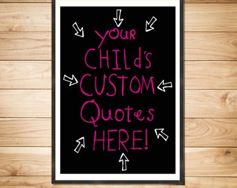 CUSTOM PRINT Spaghetti Toes, Kid's Funny Quotes --Original Illustration