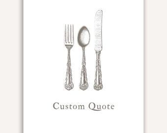 Foodie Gift wall decor, home decor, Custom Quote Print, kitchen, dining room, fork, knife, spoon