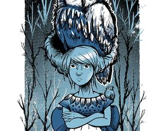 Owl Girl - Mini Art Print