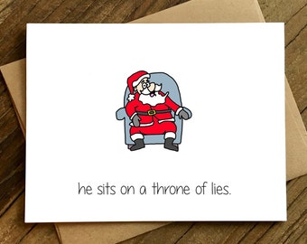 Funny Christmas Card - Christmas Card - Elf Movie Card - Throne of Lies.