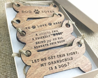 Dog Ornament Set - Gifts for Dog Lovers - Wood Christmas Tree Ornament Set - Dog Ornaments - Dog Stocking Stuffer - Gifts for Dog Lovers