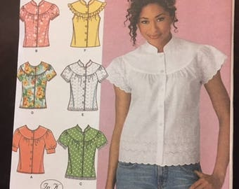 Simplicity #4122 - Misses' Blouse with Sleeve and Trim Variations - Size H5 (6,8,10,12,14) - Paper Pattern