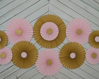 Pink and Gold Set of 11 (ELEVEN)  paper fans/rosettes, decorations for Girl Baby Shower,Birthday Party or Wedding