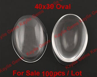 Sale 100pcs 40x30mm Oval Clear Glass Cabochon Wholesale
