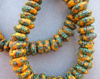 Yellow & Green Fused Ghana Glass Disk Beads (14x6mm) [68426]