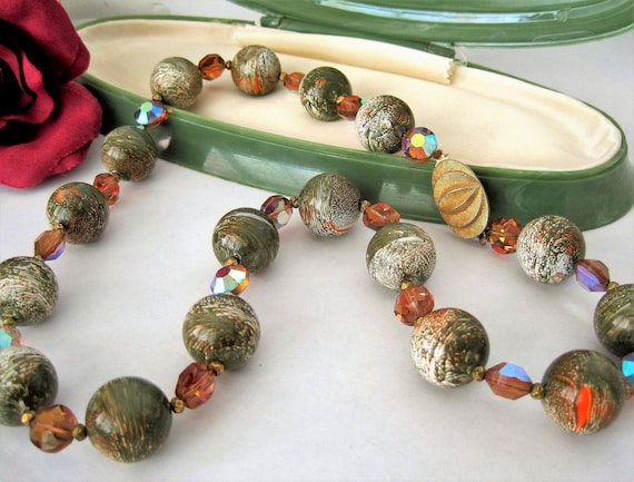 Green Swirl Bead Necklace, Topaz AB Crystals, Gold Tone Clasp