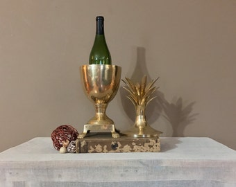"Large 17"" Brass Pineapple / Brass Pineapple Ice Bucket / Brass Ice Bucket / Brass Pineapple Container / Vintage Brass Pineapple /Vintage Bar"