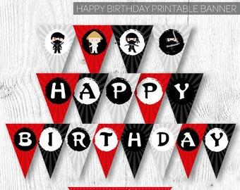Ninja Banner, Ninja Birthday Party, Ninja Party, Ninja Decorations, Karate Birthday, Karate Party, Printable Banner, Instant download