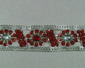 SILVER EMBROIDERED BEADS AND SEQUINS SARI TRIM