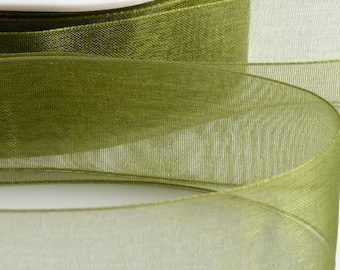 Full Reel Woven Edge Organza Ribbon Ribbon 7mm, 15mm, 25mm, 38mm - Moss Green