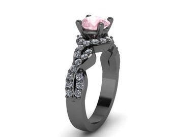 Black Gold Ring Diamond Morganite Engagement Ring Wedding RIng Gems14K Black Gold Anniversary Ring with 6.5mm Round Morganite Center - V1033