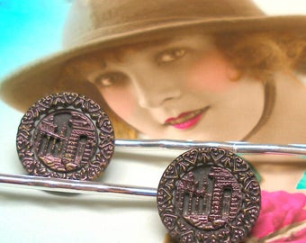 Victorian Archeology BUTTON hair pins, Ancient Ruins on silver bobby pins, hair grips, present gift.
