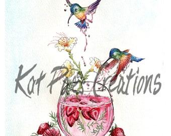 "Strawberry Summer Hummingbirds, Fine Art Print, 8.5""x11"", Watercolor  Bird, Drink, Cute Baby's Room, Wall Art Original Illustration Glitter"