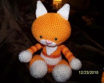 Kiska the crochet cat Orange and white Tabby kitty cat Can be ANY color you want