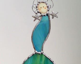 Stained Glass Mermaid Small Suncatcher, Glass Art, Mermaid Gift, Mermaid Ornament