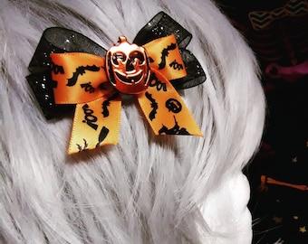 Bobby Pin Hairbow- Jack-O-Lantern