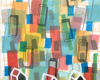 Colorful original ACEO 02 abstract geometric shapes and houses artist trading card