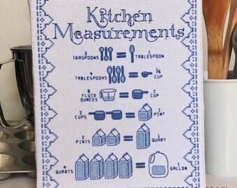 Kitchen Cross Stitch Pattern- Kitchen Measurements Conversion Chart - Instant Download