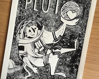 Astronauts Pluto selfie hand pulled linocut