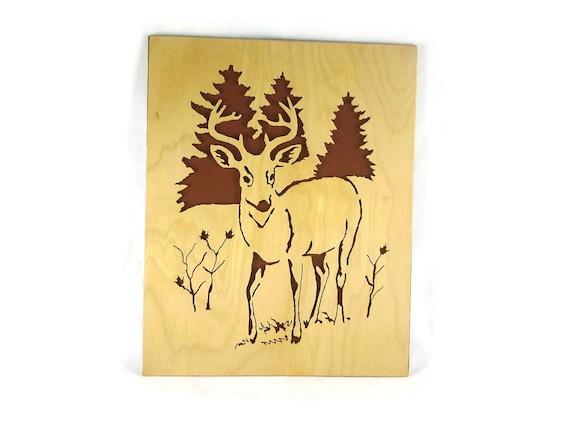 Whitetail Deer / Buck Scroll Saw Wall Art Decor Handmade From