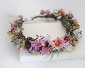 Boho Flower Crown \ Lilac Purple Pink Wedding Headpiece Bridal Headband Greenery Flower Headpiece Bridal Flower Crown Bridesmaid Headpiece