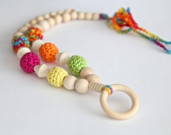 Ring multicolor nursing necklace. Mammy and baby teething crochet necklace. Girls beaded necklace.