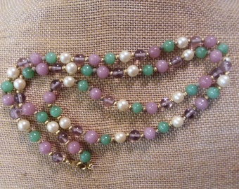 """Green and Lavender 23"""" Beaded Necklace"""