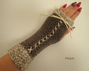 Fingerless gloves arm warmers ecru and beige knit, lace, mohair, very warm