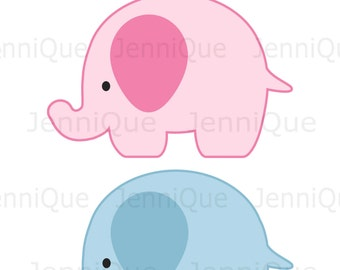 Printable Blue and Pink Elephant Cut Outs, Elephant Gender Reveal Party Decor, Twins Elephant Party Decoration, Party Printables, #EC07