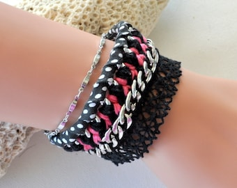 Pink and black cuff with lace and liberty chain
