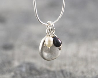 Handmade Pendant, Pearl Necklace, Silver Necklace, Silver Pendant, Boho Necklace, Simple Necklace, Bridesmaids Set, Pearl Pendant, Necklace