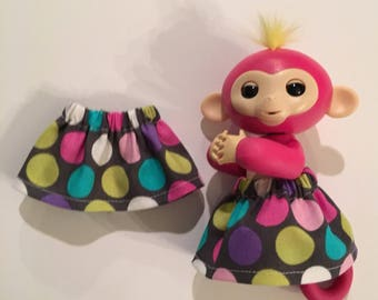 Fingerlings Monkey Skirt - Elastic Waist, Pink, White, Turquoise, Purple Polka Dots on Charcoal Gray Background - Fits Toys Bella Mia Sophie